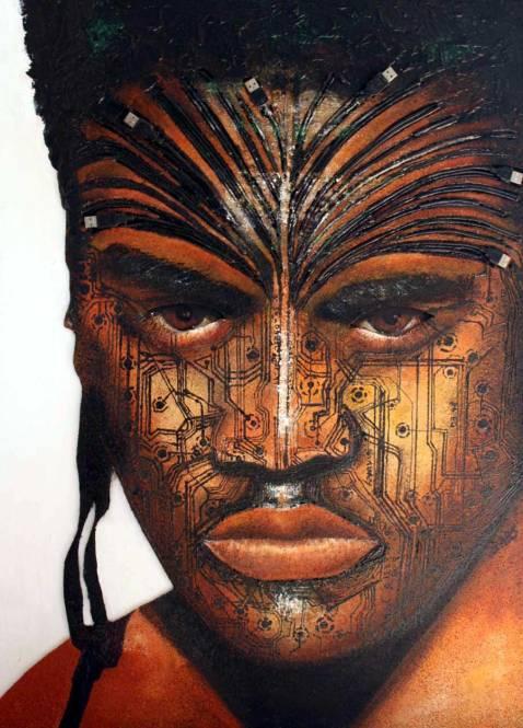 Peinture Michèle Babilotte homme Maori