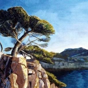 Peinture Michèle Babilotte pins rochers