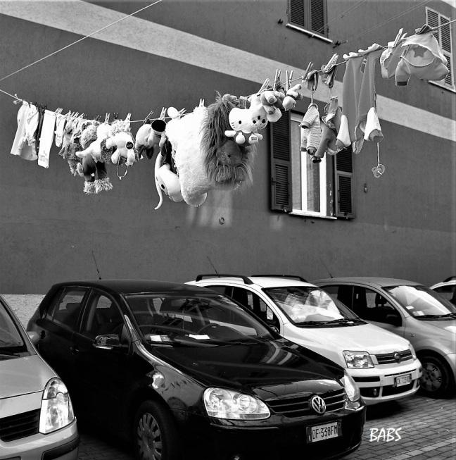 photo noir et blanc de peluches suspendues au dessus de voitures dues au dessus voitures